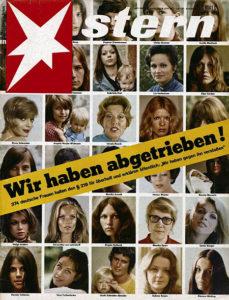 """Alice Schwarzer mit ihrer """"Wir haben abgetrieben""""- Titelseite; Quelle: """"Wir haben abgetrieben"""", Stern, 6. Juni 1971."""